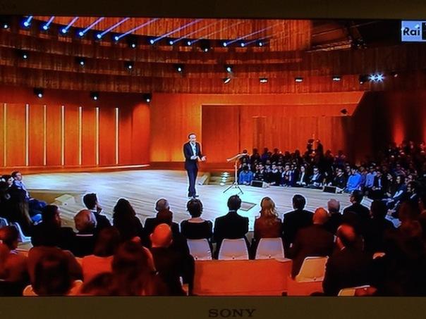 Roberto Benigni durante la seconda serata dei «Dieci Comandamenti»