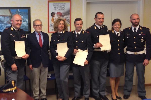 i premiati con il Comm.Capo Federica Tinti e il dott.Giuseppe Fradella