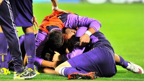 Fiorentina-Chievo, l'esultanza dei viola. Dopo la gioia del quarto posto la necessità di ricostruire (foto Giacomo Morini)
