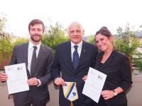 I due giovani vincitori, Andrea Cocci e Martina Milanesi, con il presidente del Lions Firenze-Bagno a Ripoli Carlo Sarra