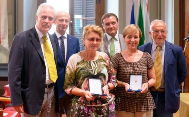 Pegaso d'oro, in prima fila da sinistra, Eugenio Giani, Stefania Gabbuggiani e Silvia Lagorio