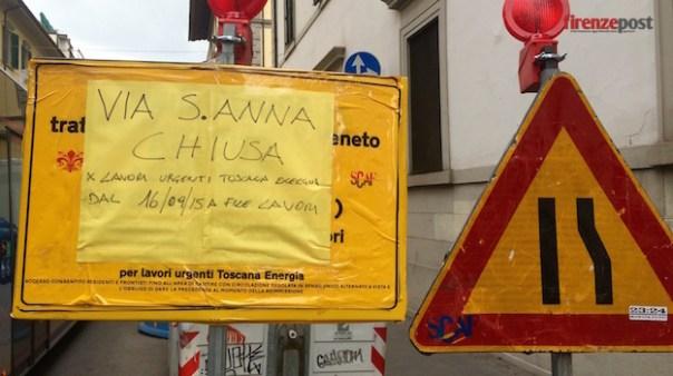 Fuga di gas in via Sant'Anna a Firenze