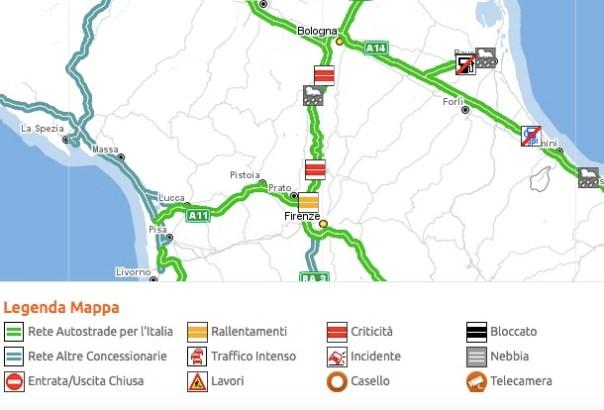 Critico il traffico stamani 19 ottobre sull'A1 tra Bologna e Firenze