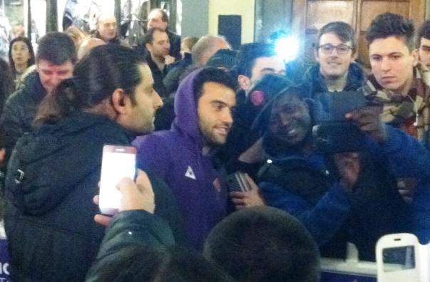 Pepito Rossi all'inaugurazione del nuovo store della Fiorentina
