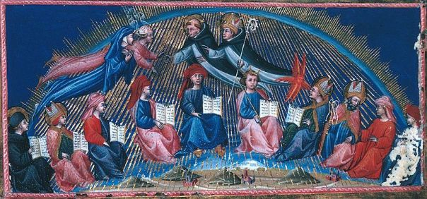 Dante inciontra san Francesco e san Domenico in una miniatura di Giovanni di Paolo (codice British Library, Yates Thompson 36, c. 147)