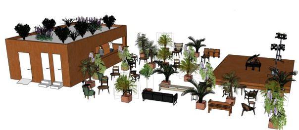 Un rendering del nuovo spazio estivo