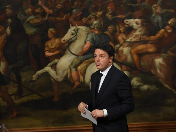 Italian Prime Minister Matteo Renzi during the press conference for the one thousand days of his government, in Chigi Palace, Rome, 18 November 2016. ANSA/ MAURIZIO BRAMBATTI