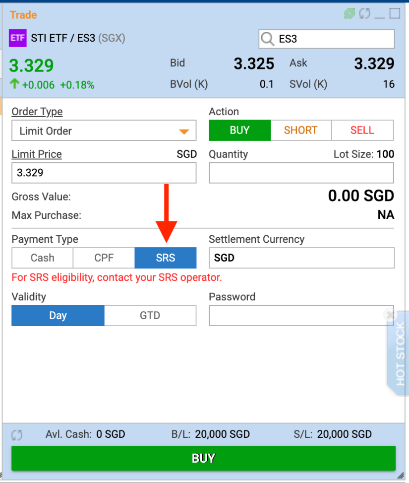 Screenshot of the POEMs platform of how to buy shares using SRS funds.
