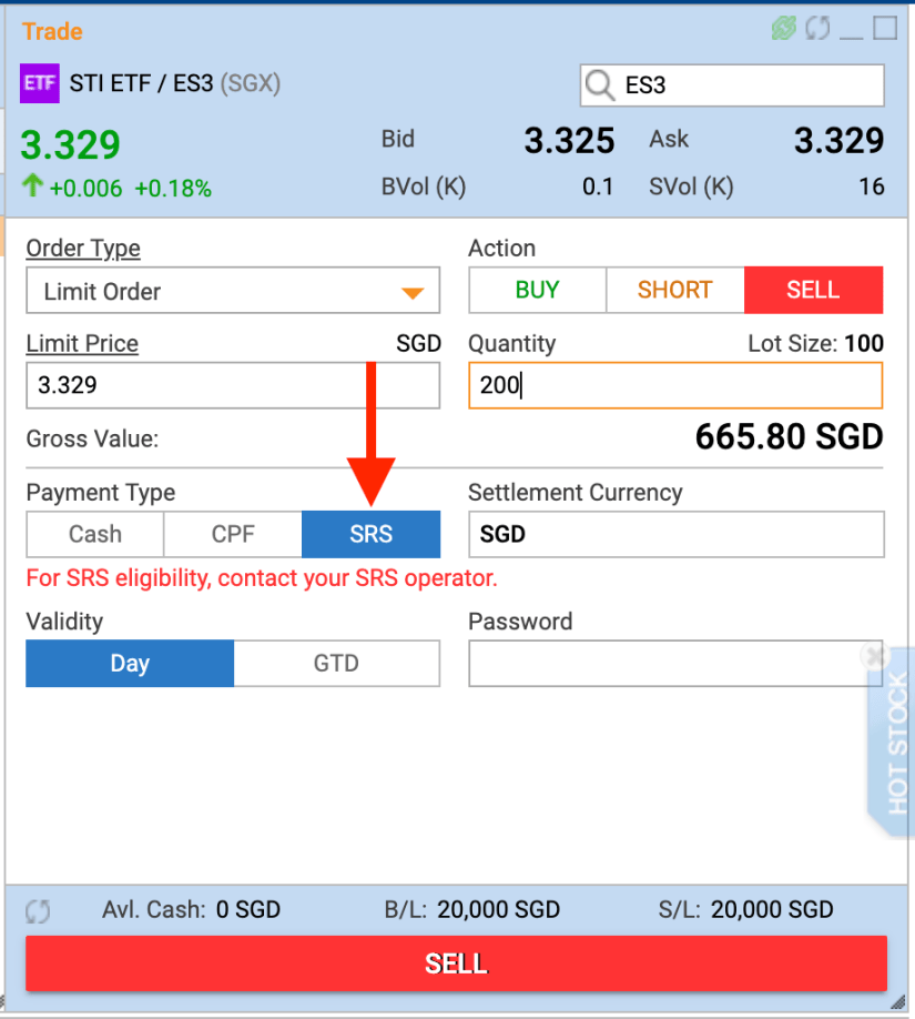 Screenshot of the POEMs platform of how to sell shares using SRS funds.