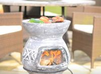 small chiminea outdoor fireplace
