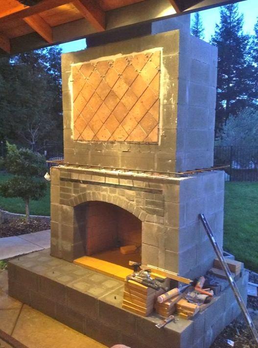 outside brick fireplace