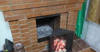 small fake fireplace