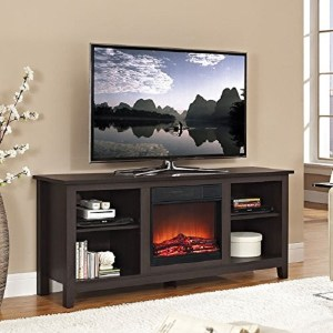 "Walker Edison 58"" Wood TV Stand with Fireplace in Espresso Review"