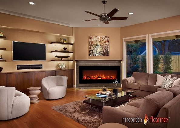Moda Flame Houston 50 Electric Wall Mounted Fireplace In Black