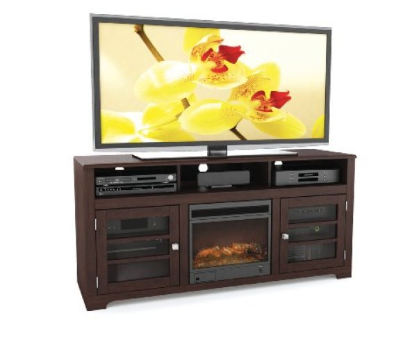 best electric fireplace tv stand Reviews-Sonax F-192-BWT West Lake 60-Inch Fireplace Bench