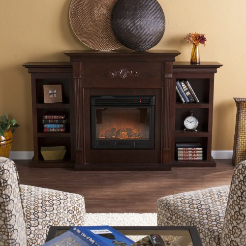 best electric fireplace tv stand Reviews-SEI Tennyson Electric Fireplace with Bookcases