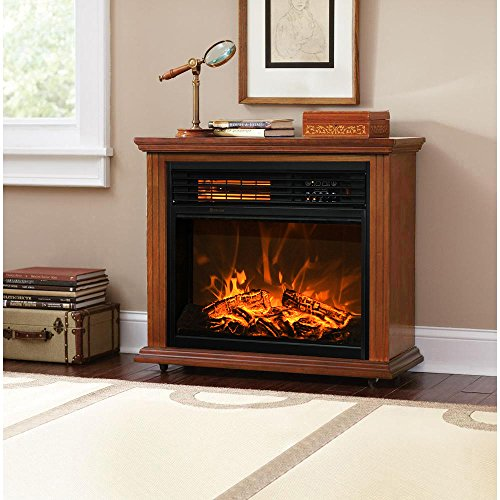 best electric fireplace heater reviews -XtremepowerUS Infrared Quartz Electric Fireplace Heater Oak Finish