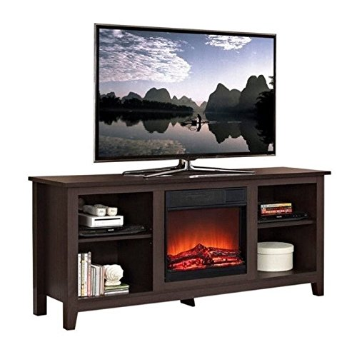Walker Edison TV Stand with Fireplace Insert -Espresso Review