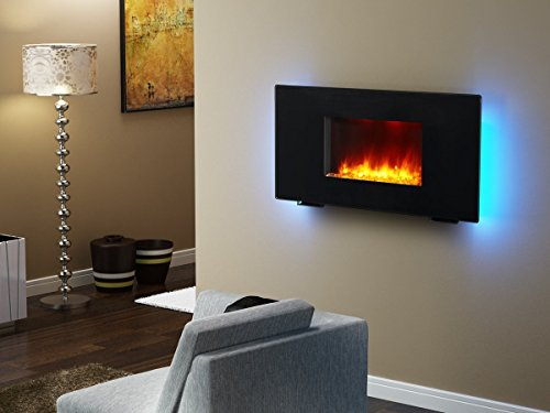 Best wall mount electric fireplace - PuraFlame Galena Black 36-inch Remote Control Portable Wall-mounted Flat Panel Fireplace Heater