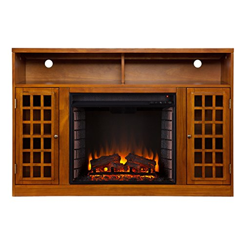 best electric fireplace tv stand: SEI Narita Media Console with Electric Fireplace - Glazed Pine