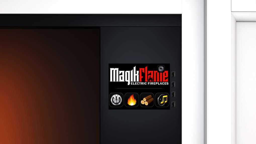 "Best wall mantel electric fireplace - The MagikFlame 28"" HoloFlame Artemis Wall Mantel Electric Fireplace Controls"