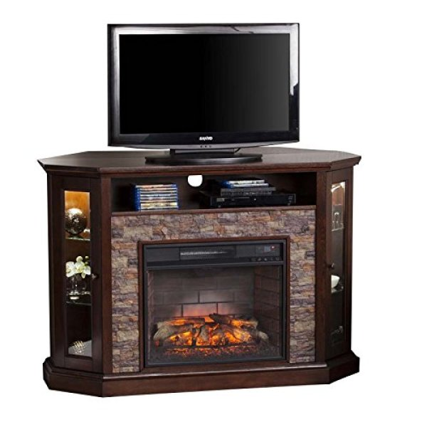 Compare SEI Sicilian Harvest Electric Fireplace with Southern Enterprises Redden Corner Electric Fireplace TV Stand