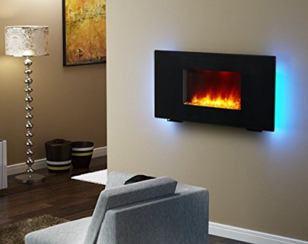 Best wall mount electric fireplace: PuraFlame Galena Black 36-inch Remote Control Portable Wall-mounted Flat Panel Fireplace Heater