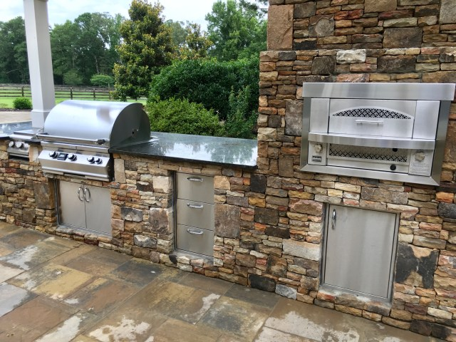 outdoor kitchen: built-in gas pizza oven - fireside outdoor kitchens