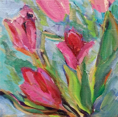 """Tulips abstracted Daily Painting acrylic on canvas 6""""x6"""""""