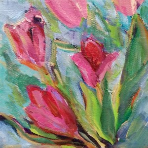 Tulips abstracted Daily Painting acrylic on canvas 6
