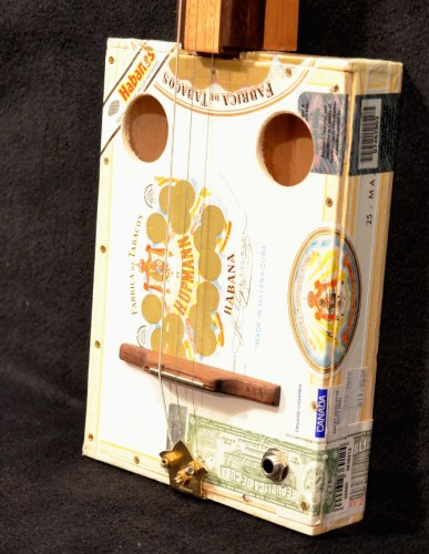 white cigar box guitar