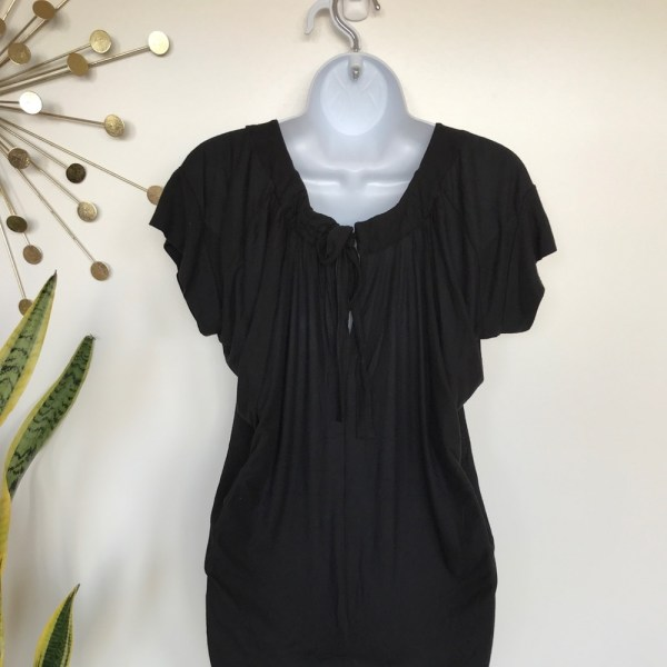 BCBGMaxAzria Black short sleeve paper bag dress size XS