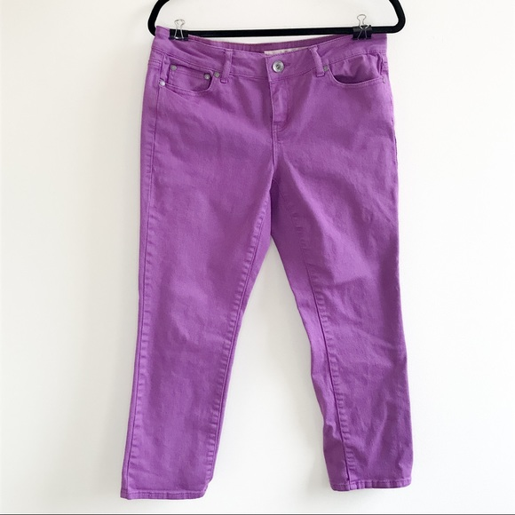 DKNY Purple mid rise straight leg ankle jeans size 6