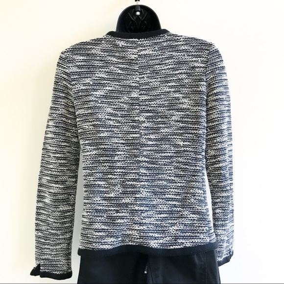 J. Crew black & white marled button front cardigan sweater size XXS