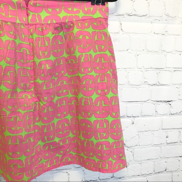 LulaKate pink & green Aline casual short skirt size 2