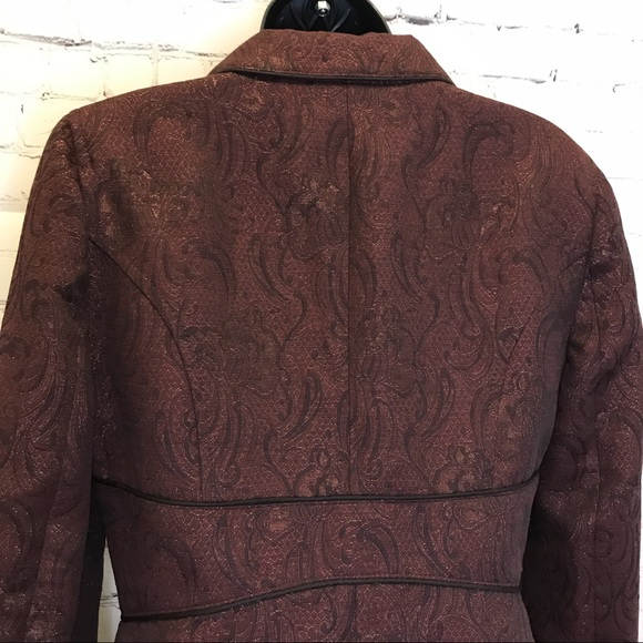 Bebe burgundy jacquard 3 button blazer jacket size 8