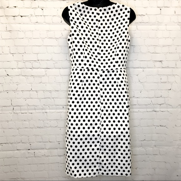 Adrianna Papell white w/ black polka dots sheath dress size 4