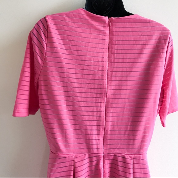 NY COLLECTION pink striped fit & flair dress size Medium NWT