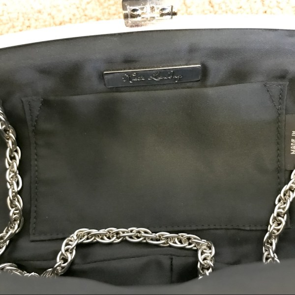 Kate Landry Black patent leather clutch with silver metal hardware