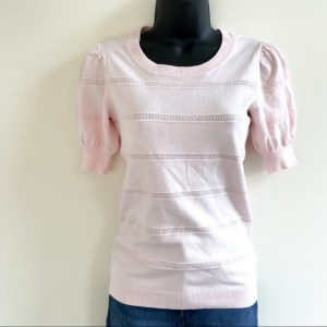 Maison Jules short sleeve pink puff sleeve sweater top XXSmall
