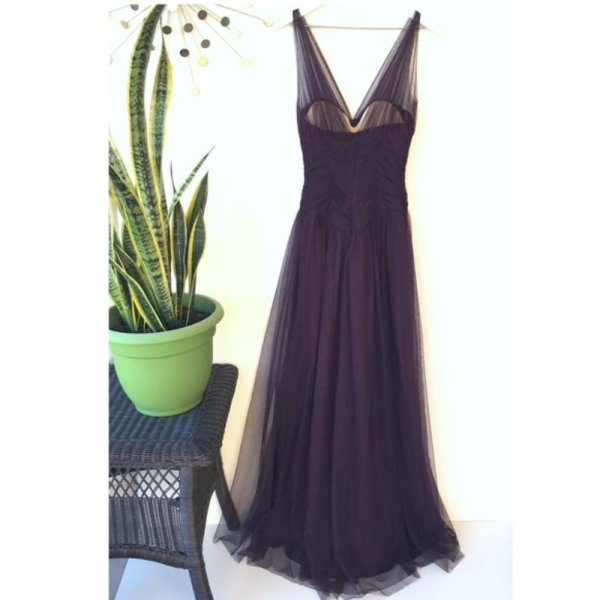 Vintage late 90's Vera Wang plum silk & tulle ball gown long dress size 6