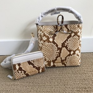 Michael Kors Set Suri Small Python Embossed Crossbody Bag with matching Jet Set wallet