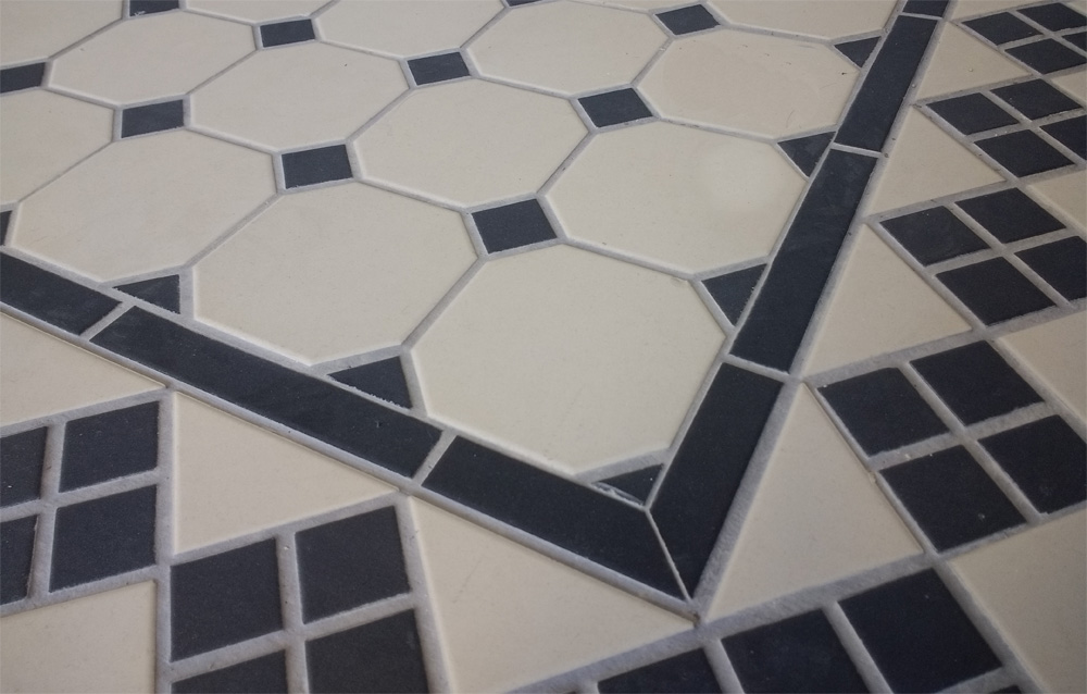 octagon floor tile black and white
