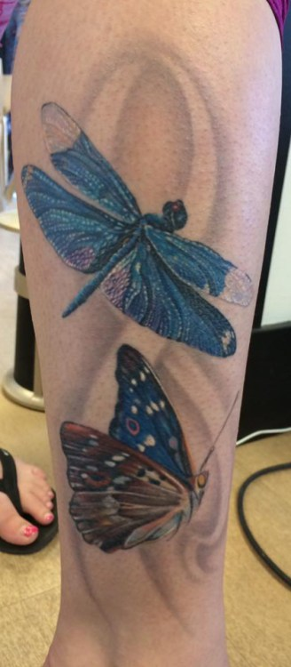 butterfly dragonfly tattoo Sarah Eastick Fire Vixen Tattoos