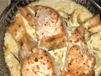 Fırında patatesli kremalı somon görseli