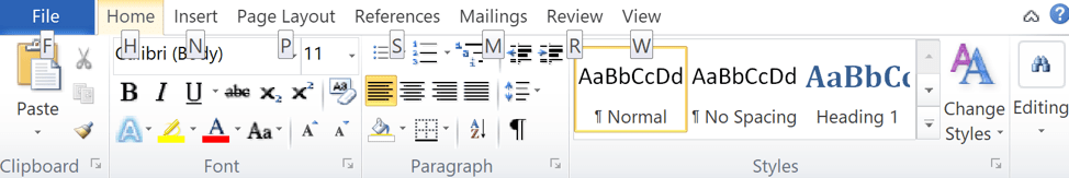 Work the Ribbon in MS Office using your keyboard