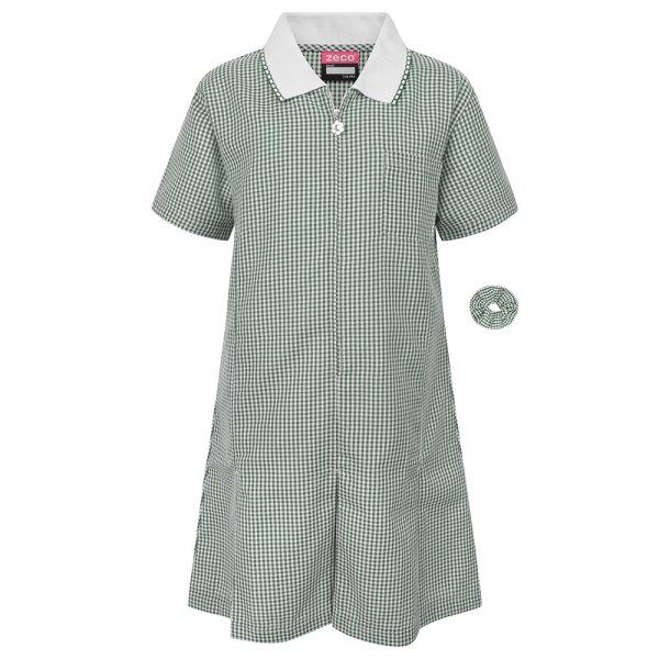 Bottle Green/White Gingham Dress