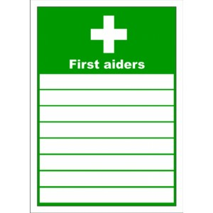 list of first aiders sign