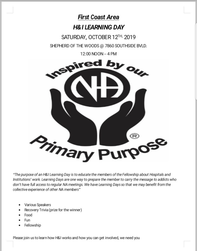 H&I Learning Day on October 12th at Noon