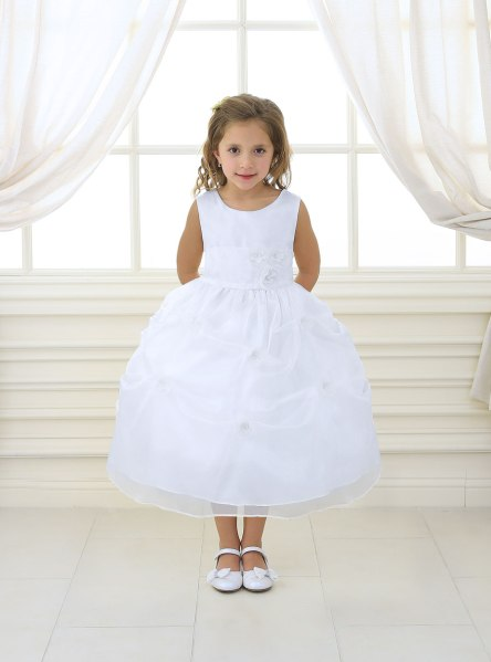 First Communion Dress with Flower Appliques Gathered Skirt     First Communion Dress with Flower Appliques Gathered Skirt